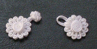 6 pairs white bead round daisy Chinese Frogs buttons sewing hand made