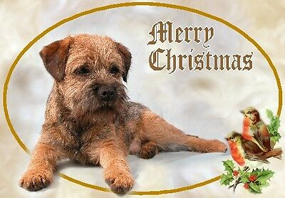 Border Terrier Dog A6 Christmas Card Design XBORDTER-8 by paws2print