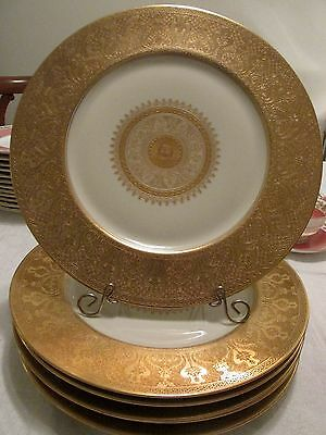 "6 Vtge Ivory Gold Encrusted 11"" CHARGERS Plates HEINRICH Gold Medallion Centers"