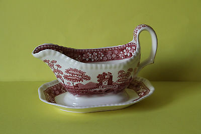 Spode Pink Tower Sauciere