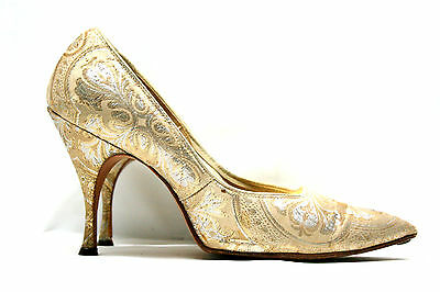 VINTAGE~STYLE PRIDE~GOLD SATIN LEATHER SOLE HIGH HEEL CLASSIC WOMEN SHOES SZ 6B