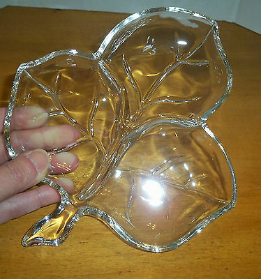 EAPG Clear Glass Ribbed Leaf Clover Candy Trinket Dish