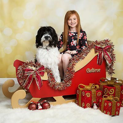 Santa's Sleigh MDF Large Wooden Freestanding & to sit in Christmas 1150mm long