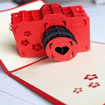 LOMO GRAPHY HANDMADE 3D POP UP GREETING CARD RED LOVE CAMERA VALENTINE CARDS