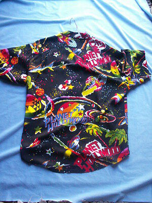 Vintage Planet Hollywood Hawaiian Style Shirt Tapered Tail Very Collectible RARE