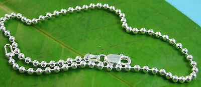 MADE IN ITALY 925 Sterling Silver 2.5mm ball ANKLET Necklace 25cm to 60cm UNISEX