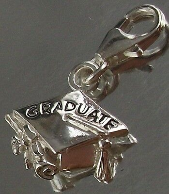 925 STERLING SILVER CLIP ON GRADUATE Hat Mortarboard CHARM PENDANT