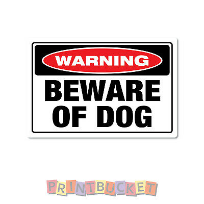 Beware of dog sticker water & fade proof safety oh&s 7 year vinyl dog warning