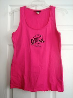 """Planet Hollywood Orlando"" Pink Sleeveless Top Black Embroidery – Adult S - NEW!"