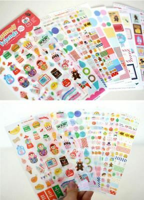 Cartoon Stickers Scrapbooking Diary Notebook Label Set – 12 sheets