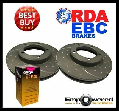 DIMPLED SLOTTED FRONT DISC BRAKE ROTORS+PADS for Nissan Navara D22 4WD 1997-01