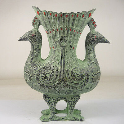 china handwork old collectible superb bronze double peacock wine pot CP45M47