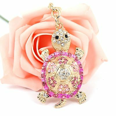 Tortoise Turtle Lovely Cute New Crystal Pendent Charm Purse Bag Key Chain Ring
