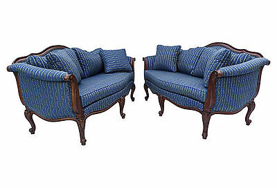 "Pair of French-style Ethan Allen sofas with carved mahogany frames37""LX70""WX38""H"