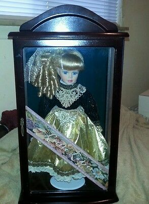 Little Ladies Porcelain Doll in Glass / Wooden Case - Beautiful