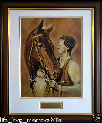 Bobby And Tommy Phar Lap And Tommy Woodcock Horse Racing Memorabilia Framed