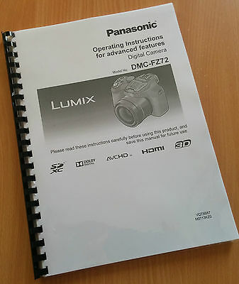 Printed Panasonic Lumix DMC FZ72 Camera Instruction Manual / User Guide