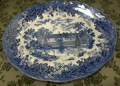 ROMANTIC ENGLAND KENT IGHTHAM MOTE J&G MEAKIN CHINA 12 INCH OVAL PLATTER
