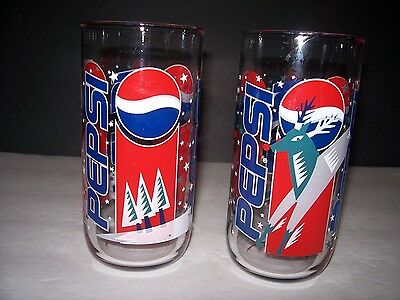 Pair Of Pepsi Holiday Christmas Rudolph Glasses