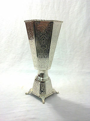 AA59 Vintage Reproduction Silver Plated Etched Handmade Turkish Incense Burner
