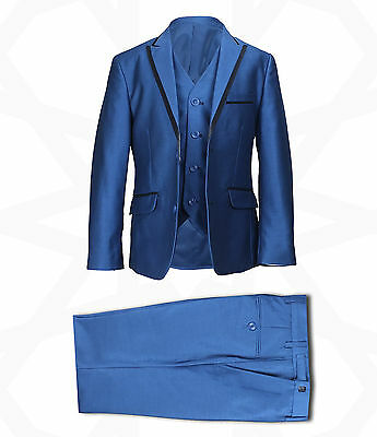 New Boys Blue 3Pc Page Boy Suit Wedding Party Dinner Prom Suit In Tonic Blue