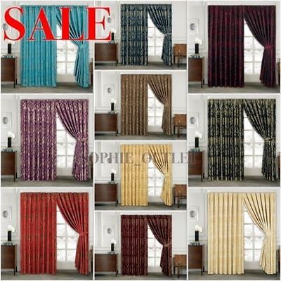 High Quality New Jacquard Curtain Pair Of Pencil Pleat Window CurtainS With Ties