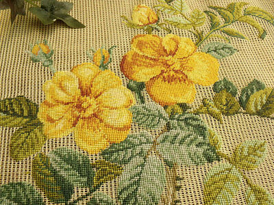 """Vtg 27"""" PREWORKED Needlepoint Canvas 100% PETIT POINT-SHABBY CHIC Yellow Flowers"""
