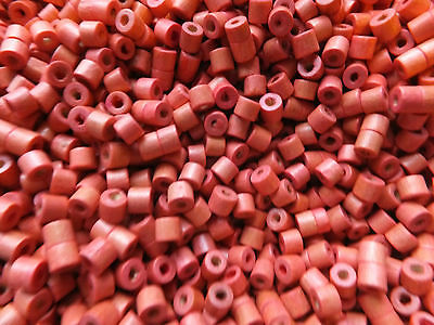 OVER 1000 WOOD BEADS,TUBE, SHELL PINK, 4mm x4mm, Hole:App 1.5mm JEWELLERY SPACER