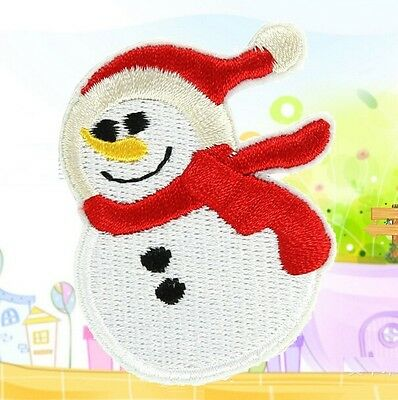 FD1338 Christmas Snowman Embroidery Cloth Iron On Patch Sew Motif Applique 1PC