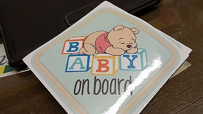 WINNIE THE POOH Bear Baby On Board Warning Cute WINDOW DECAL STICKER VINYL SIGN