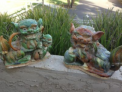 PAIR OF ANTIQUE POLYCHROME DECORATED ROOF TILES/ FOO DOGS