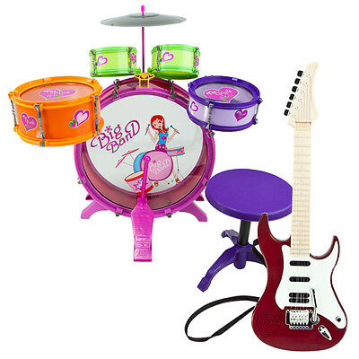 Guitar Red  Toy Electric Girl Children Colorful Playset  Music Set Drum 8pc