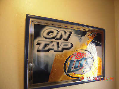 "Miller Lite ON TAP REFLECTIVE Mirror Bar Sign 37 3/4""/ 26"" by Heritage & Display"
