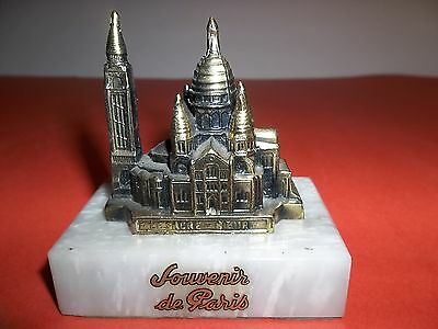 "EXQUISITE 3"" SOUVENIR OF PARIS METAL ON MARBLE PHENOMINAL PAPER WEIGHT FRANCE"