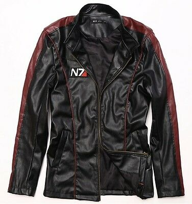 Game Mass Effect N7 Leather Jacket Mens winter casual Coat motorcycle clothing