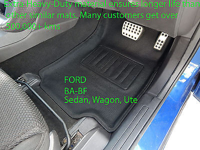 Ford BA BF Falcon Moulded 3D Car Floor Mats Front Pair Rubber Vinyl 2002-2009