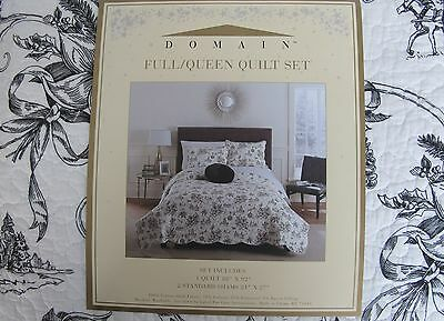 DOMAIN CHRISTMAS TOILE 3PC QUEEN QUILT SET Black White Bird Tree HOLIDAY new