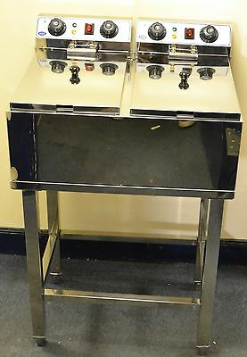 NEW CHROME Electric TWIN 17L Commercial Deep Fat CHIP Fryer ON STAND COMES & LID
