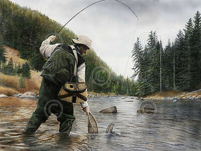 Fishing the Gallatin Kevin Daniel Nature Fly Fish River Print Poster 18x24