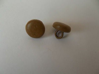 Pair of Light Brown Antique Vtg SHOE Buttons Teddy Bear Eyes  9mm in diameter