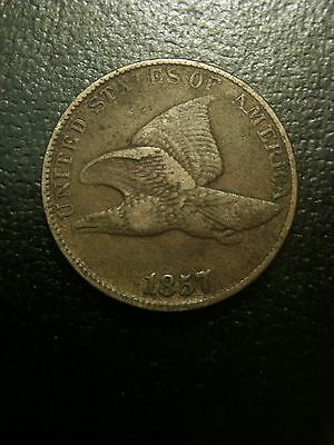 1857 Flying Eagle Cent Choice XF+ Extremely Fine EF Copper Nickel Large Letters