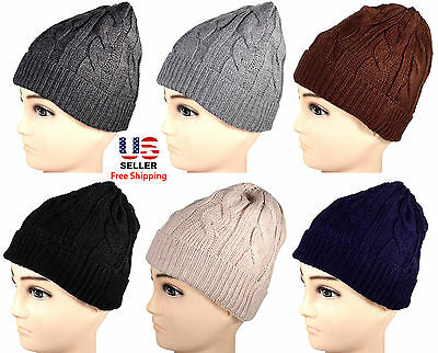 Mens Womens Winter Warm Cable Twist Knit  Beanie Crochet Hat Ski Many Colors
