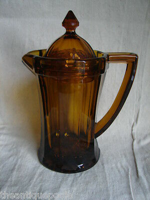 c1900 AMBER EAPG Full Paneled Pattern Syrup Pitcher w/Inter-Locking Glass Cover
