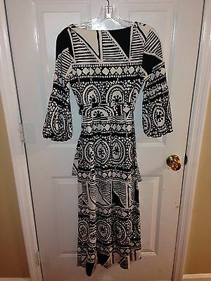 Vtg 60s 70s Op Art Hawaiian Hawaii Malia HONOLULU Maxi Poof Sleeve Dress  Small