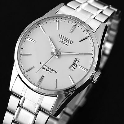 New Daily Men's Analog Quartz Watch Stainless Steel Band Date Sport Wrist Watch