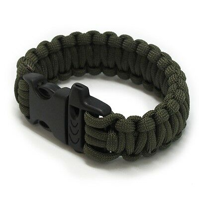 Emergency Outdoor Survival 550lbs Paracord Bracelet with Whistle - Green
