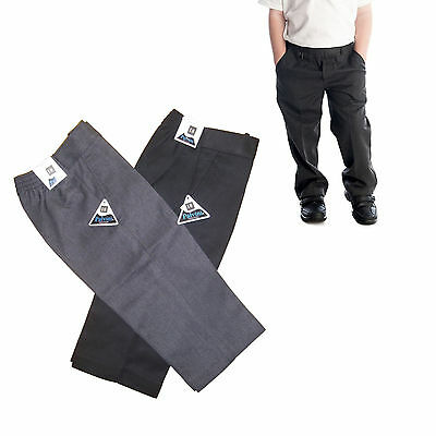 Teflon Pull Up Trousers Half Elasticated All Sizes New School Uniform Boys Kids