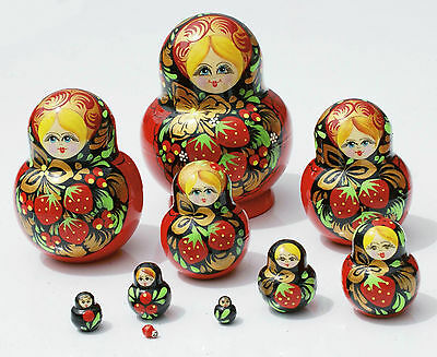 Matryoshka Traditional Russian Nesting Doll Hand Carved of Wood Strawberry 10pc