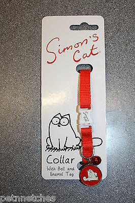 Simons Cat Collar With Bell And Enamel Tag With Safety Buckle New!