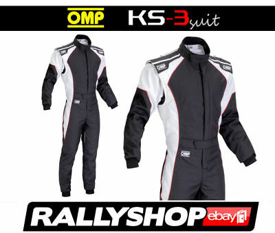 OMP KS-3 Suit Black White Size 56 Go Karting Racing Sport Overall CIK  3 Layers